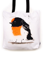 Funky all cotton tote featuring my little Robin Red Breast.  45cm x 45cm. Scotch guard protection. Washable