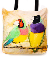 Funky all cotton tote featuring the endangered Gouldian Finch.  45cm x 45cm. Scotch guard protection. Washable