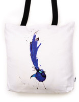 Funky all cotton tote featuring the ever popular Splendid Blue Wren found in South West Australia where I grew up.  45cm x 45cm. Scotch guard protection. Washable