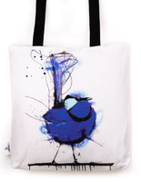 Funky all cotton tote featuring my very popular Splendid Blue Wren.  45cm x 45cm. Scotch guard protection. Washable