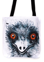 Funky all cotton tote featuring my aussie Emu.  45cm x 45cm. Scotch guard protection. Washable