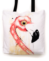 Funky all cotton tote featuring my Flamingo with attitude.  45cm x 45cm. Scotch guard protection. Washable