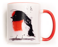 Funky Robin Mug. Perfect for the variant degrees of coffee! Comes gift wrapped in Sobrane Blue wrapping paper and image. Image is on both sides of the mug.