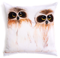 All cotton Barking Owl Cushion. 45cm x 45cm. Image on both sides of the cushion. Shipped without fill. Washable and scotch guarded.
