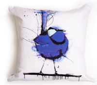 All cotton Blue Wren Cushion. 45cm x 45cm. Image on both sides of the cushion. Shipped without fill. Washable and scotch guarded.