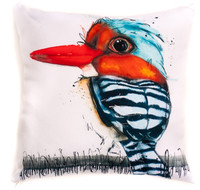 All cotton Asian Banded Kingfisher Cushion. 45cm x 45cm. Image on both sides of the cushion. Shipped without fill. Washable and scotch guarded.