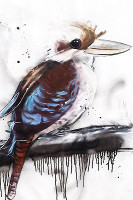 Blue Kookaburra Print on canvas by Sobrane. This product is stretched on wood and ready to hang. Comes in various sizes. This product is produced in Broome.