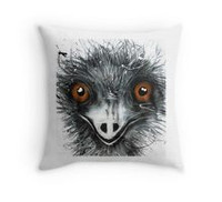 All cotton Emu Cushion. 40cm x 40cm. Image on both sides of the cushion. Shipped without fill. Washable and scotch guarded.