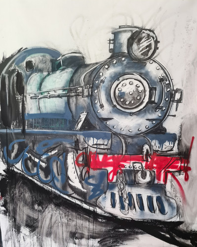 Train Mural Limited Edition Canvas Print