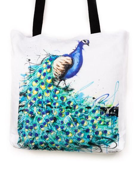 Funky all cotton tote, beautiful aqua colours.  45cm x 45cm. Scotch guard protection. Washable