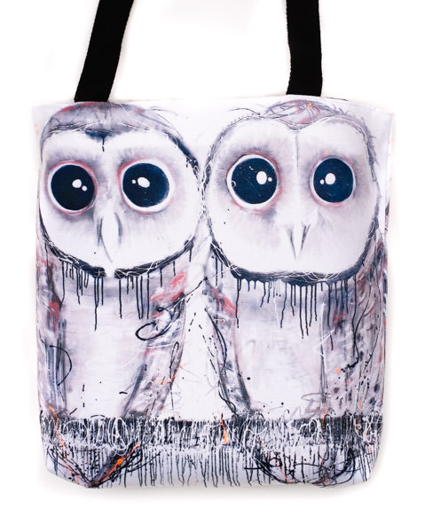 Funky all cotton tote with cute owls. Sooty Owls have the biggest eyes!  41cm x 41cm. Scotch guard protection. Washable