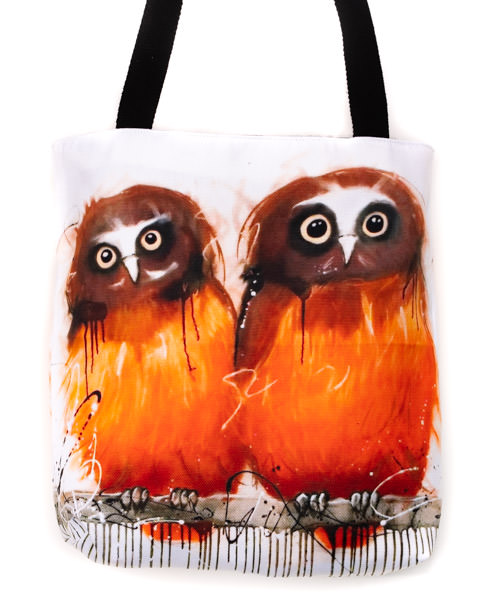 Funky all cotton tote featuring my American Saw-whet Owls.  41cm x 41cm. Scotch guard protection. Washable