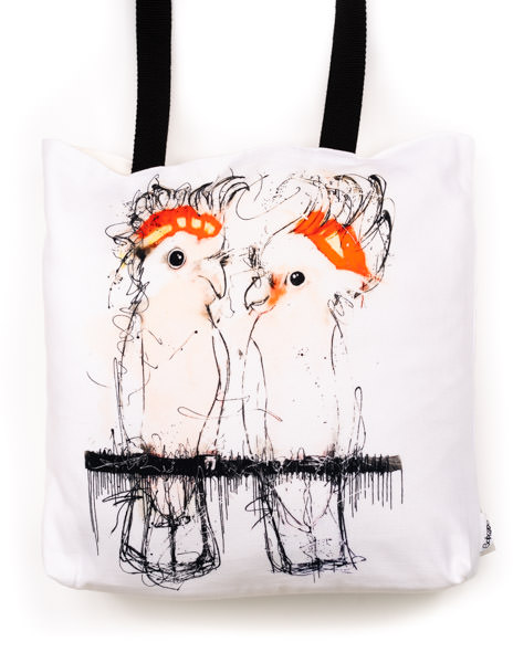 Funky all cotton tote featuring my cheeky Major Mitchell Cockatoo's.  45cm x 45cm. Scotch guard protection. Washable
