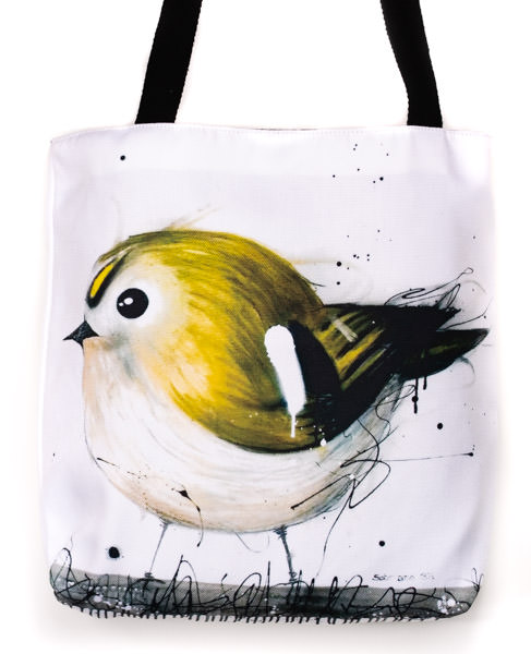 Funky all cotton tote featuring my very cute European Marsh Tit.  41cm x 41cm. Scotch guard protection. Washable