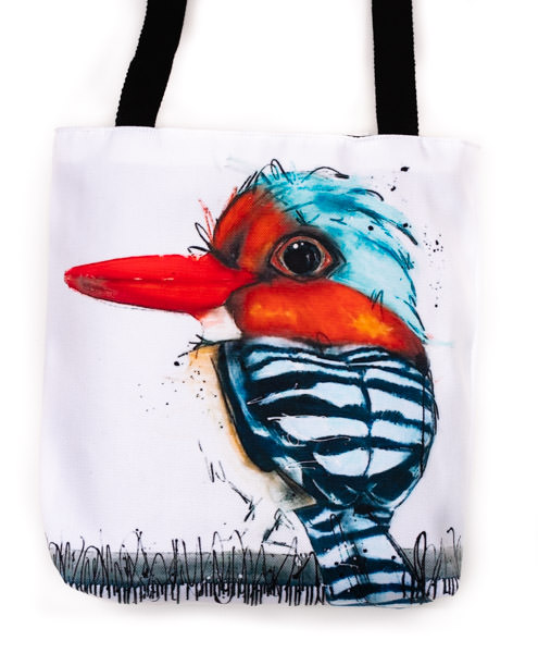 Funky all cotton tote featuring my Asian Banded Kingfisher.  45cm x 45cm. Scotch guard protection. Washable