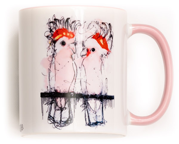 Funky Major Mitchell Cockatoo Mug. Perfect for the variant degrees of coffee! Comes gift wrapped in Sobrane Blue wrapping paper and image. Image is on both sides of the mug.