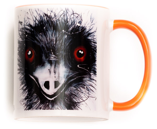 Funky Emu Mug. Perfect for the variant degrees of coffee! Comes gift wrapped in Sobrane Blue wrapping paper and image. Image is on both sides of the mug.