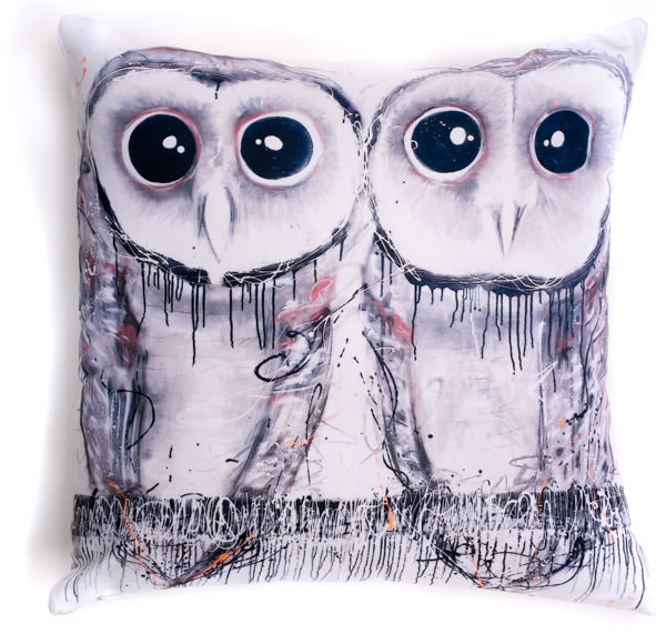 All cotton Sooty Owl Cushion. 40cm x 40cm. Image on both sides of the cushion. Shipped without fill. Washable and scotch guarded.