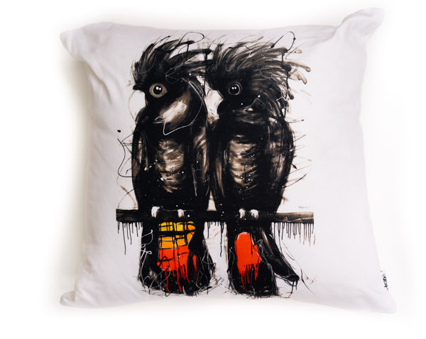 All cotton Redtail Black Cockatoo Cushion. 45cm x 45cm. Image on both sides of the cushion. Shipped without fill. Washable and scotch guarded.