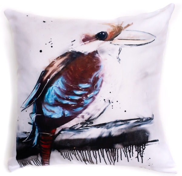 All cotton Blue Winged Kooka Cushion. 40cm x 40cm. Image on both sides of the cushion. Shipped without fill. Washable and scotch guarded.