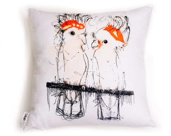 All cotton Major Mitchell Cushion. 45cm x 45cm. Image on both sides of the cushion. Shipped without fill. Washable and scotch guarded.