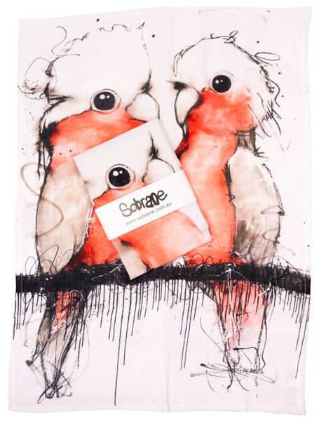 Pink and Grey Cockatoo Tea Towel