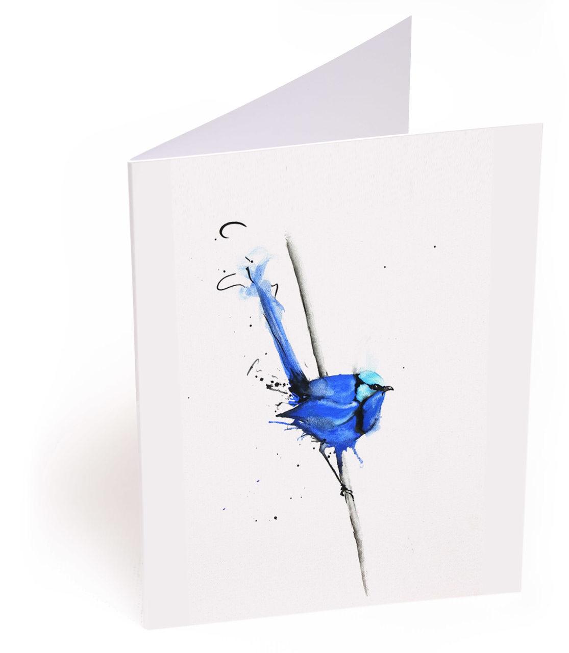 Splendid Blue Wren on Branch Card