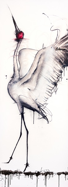 Dancing Brolga Original. Pastels and spray paint on canvas