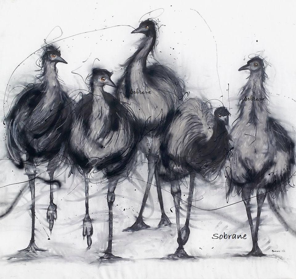 Emu Mob created on Canvas