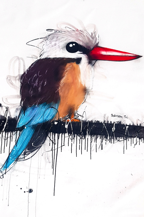 Azure Kingfisher  Original artwork completed in Pastels, spray-paint, charcoal and enamel.  Artwork is on canvas 100 x 120cm FREE SHIPPING ON ALL ORIGINALS WORLDWIDE