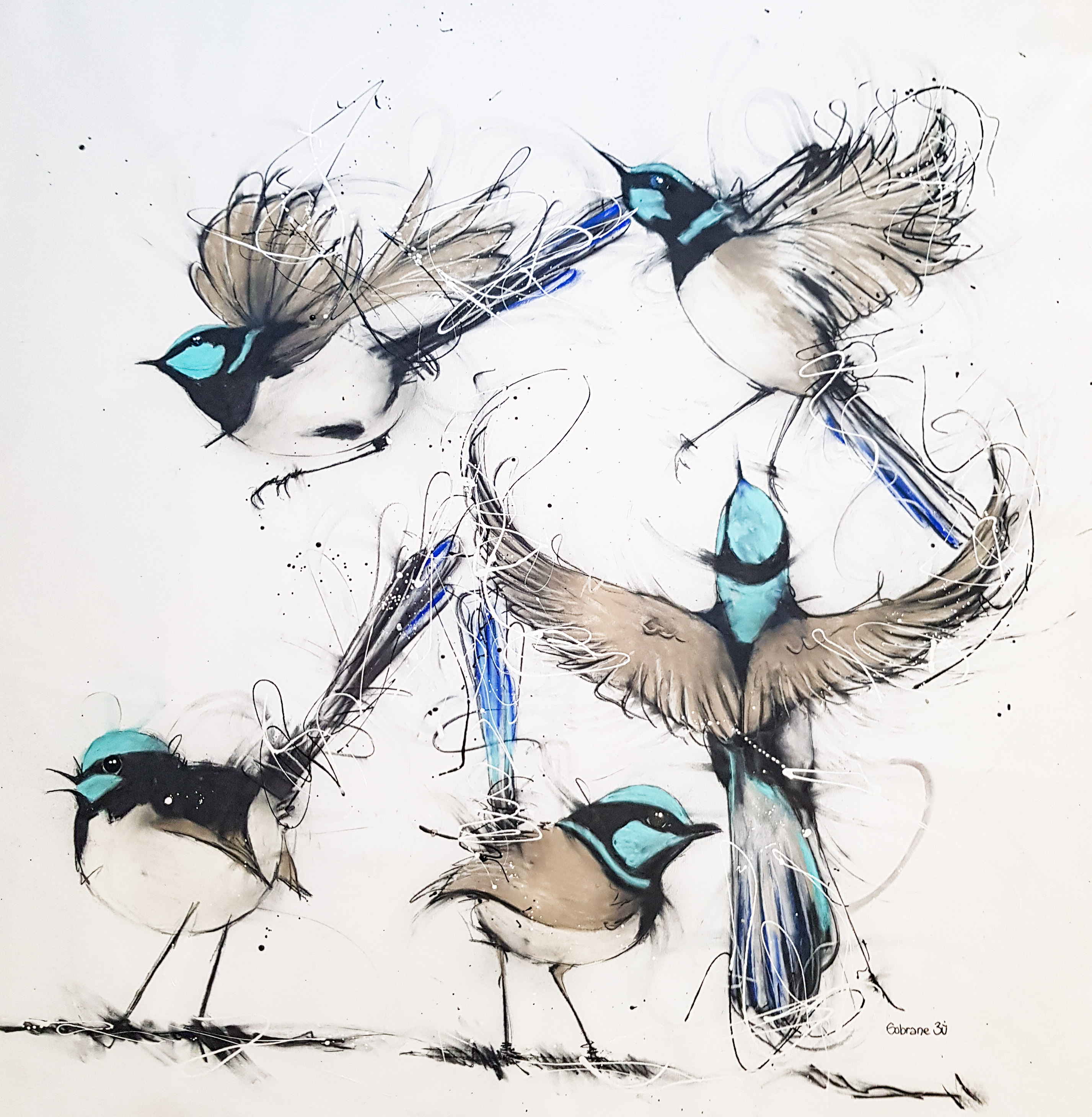 Flight of a little Wren Original Created in Sobrane's Whalebeach Studio, Sydney NSW Original artwork completed in pastels, spray-paint, charcoal and enamel.  Artwork is on canvas and framed  148 cm x 160 cm FREE SHIPPING ON ALL ORIGINALS WORLDWIDE