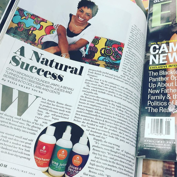 Oyin Handmade CEO, Jamyla Bennu, Profiled in Ebony Magazine!