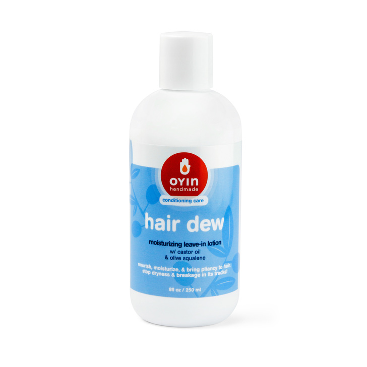 Hair Dew - the leave-in to believe in! Image of product in an 8oz bottle with blue and white label.