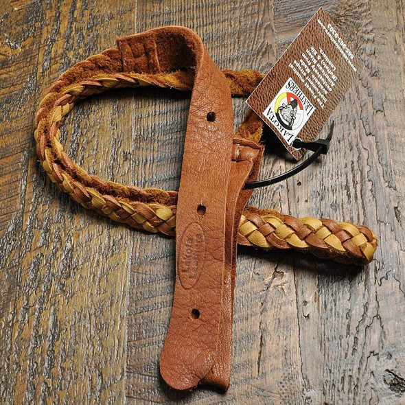 Lakota Leathers Mandolin Strap Flat Braid 43 Inch Tan & Tobacco