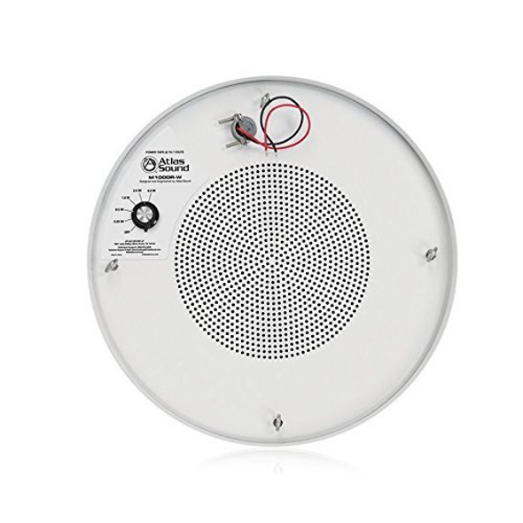 Atlas Sound M1000R-W - 8 Inch Dual Cone Sound Masking Loudspeaker with 4 Watt, 70 Volt Transformer And Enclosure (White, Round)