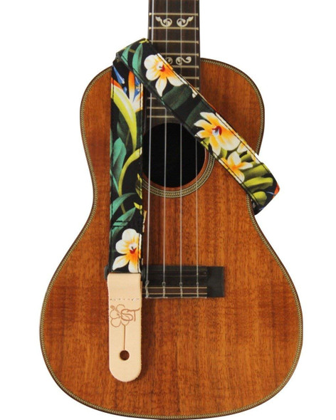 "1"" Hawaiian Print Ukulele Strap - Bird of Paradise"