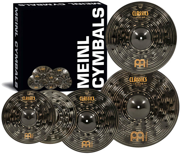 "Meinl Cymbal Set Box Pack with 14"" Hihats, 20"" Ride, 16"" Crash, Plus a FREE 18"" Crash – Classics Custom Dark – Made In Germany, TWO-YEAR WARRANY (CCD460+18)"