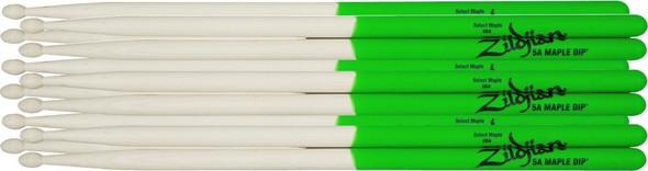 Zildjian Maple Green DIP Drumsticks 6-Pack, Wood Tip