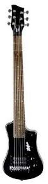 Hofner Shorty Guitar - Black Shorty Full Sized Neck Travel Electric Guitar w/ Gigbag