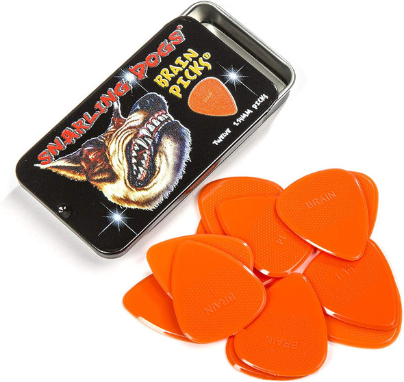 Snarling Dogs Brain TNSDB351 1.14 Guitar Picks, 12-Piece, Collectible Tin, Orange Nylon, 0 1.14mm