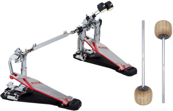 Ddrum QS DBDP Quick Silver Series Double Bass Drum Pedal w/ 2 Extra Wood Beaters