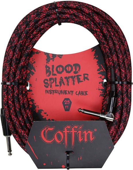 Coffin Bloodsplatter Inst. Cable 25ft, Right Angle to Straight