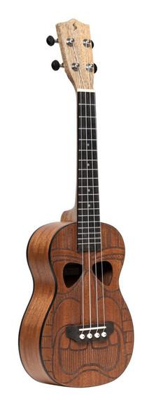 Tiki series concert ukulele with sapele top, Hewa finish, with black nylon gigbag