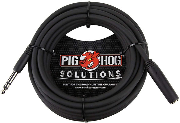 """Pig Hog PHX14-25 1/4"""" TRSF to 1/4"""" TRSM Headphone Extension Cable, 25 Feet (2-Pack)"""