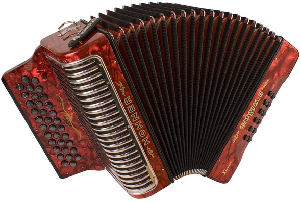 Hohner Corona Xtreme II Accordion, 34 Button, EAD, Pearl Red
