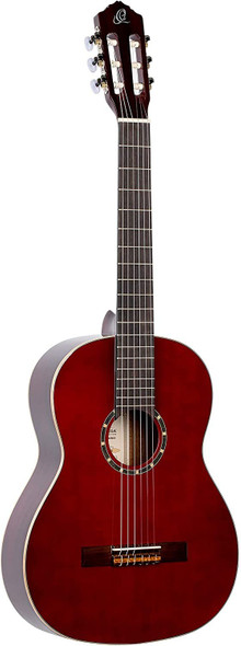 Ortega Guitars 6 String Family Series Full Size Nylon Classical Guitar w/Bag, Right-Handed, Spruce Top-Wine Red-Gloss, (R121WR)