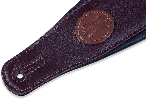 """Levy's Leathers 3"""" Signature Series Leather Guitar Strap with Foam Padding and Leather Backing; Burgundy (MSS2-BRG)"""