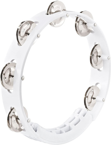 """Meinl Percussion Tour Tambourine with Stainless Steel Jingles - NOT MADE IN CHINA - White, 8"""" ABS Plastic Frame, 2-YEAR WARRANTY, 8"""" (HTT8WH)"""