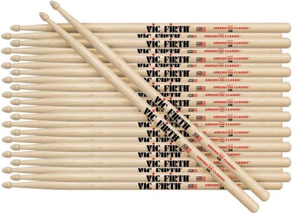 12 Pairs of Vic Firth 5B Wood Tip American Classic Hickory Drumsticks