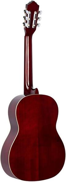 Ortega Guitars 6 Family Series Full Size Slim Neck Nylon String Classical Guitar w/Bag, Right, Spruce Top-Wine Red-Gloss, (R121SNWR)